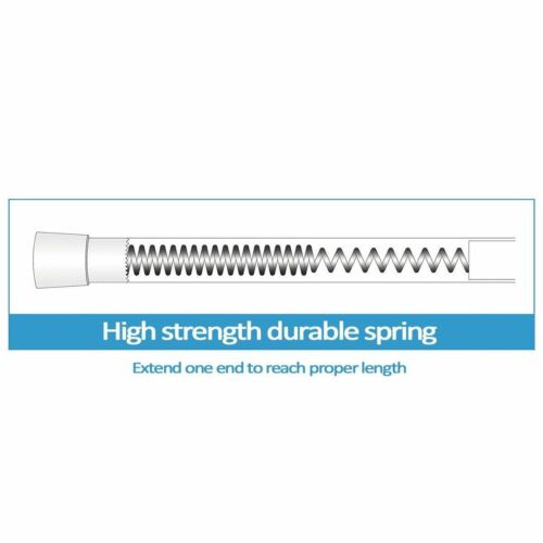 "41/"" to 76/"" Adjustable Spring Tension Steel Shower//Window//Closet Rod Tan"