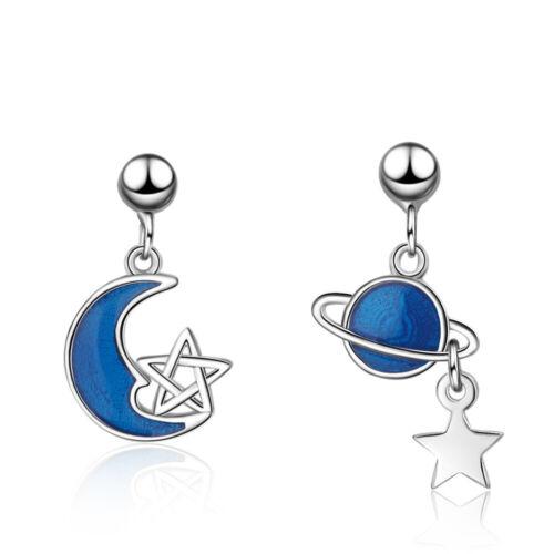 Nuevo 925 plata esterlina Lindo Epoxi Blue Star Moon pareja STUD dejar pendientes