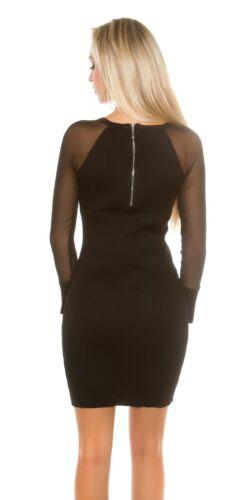 Koucla Ripp Strickkleid Minikleid Kleid Dress mit Keyhole Cut