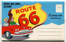 """Vintage Accordion Fold-out Photo Postal Mailer: """"HERE WE ARE ALONG ROUTE 66"""""""