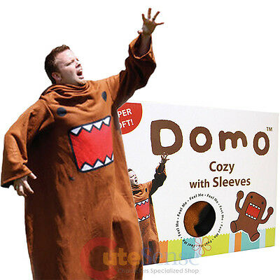 Domo Kun Cozy Fleece Blanket with Sleeves Domo Big Face Costume Throw