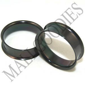 0702-Black-Double-Flare-Flesh-Tunnels-Earlets-Saddle-Gauges-1-1-4-034-Plugs-32mm