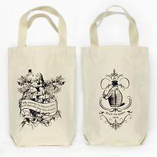 Alice Flamingo Wonderland Organic Cotton Bottle Wine, Liquor, Growler Tote Bag