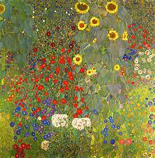 GUSTAV KLIMT : FARM GARDEN AND SUNFLOWERS : 24 INCH CANVAS FLOWER FINE ART PRINT