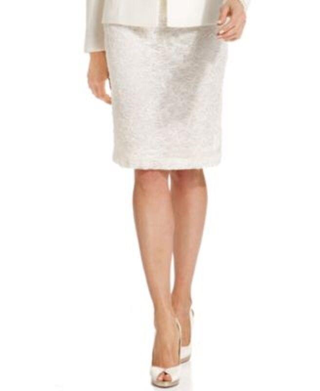 Tahari ASL LUXE Suit Seperates Skirt Sz 8P Ivory White Beaded Sequin Straight
