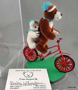 Becky Wheeler Miniature Teddy Bears on Bike Plush Signed 4in LE 1000 Box Cert