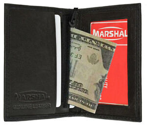 BLACK-GENUINE-LEATHER-ID-Credit-Cards-Holder-Men-039-s-Bifold-Men-039-s-Wallet-Zip-New