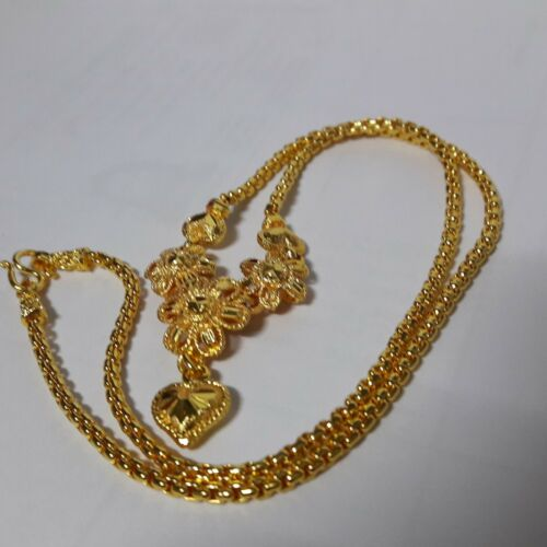"""New Necklace  24 k Yellow Gold Plated Women Size 18.0/"""" Floral Thailand"""