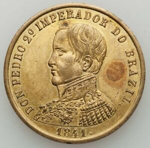 Brasil-Brazil-1841-Pedro-II-Medallic-Fantasy-4-Reales-Uncirculated-Rare-Coin