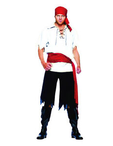 Image is loading Adult-Mens-Pirate-Costume -Blackbeard-Jack-Sparrow-Caribbean-  sc 1 st  eBay & Adult Mens Pirate Costume Blackbeard Jack Sparrow Caribbean Pirates ...
