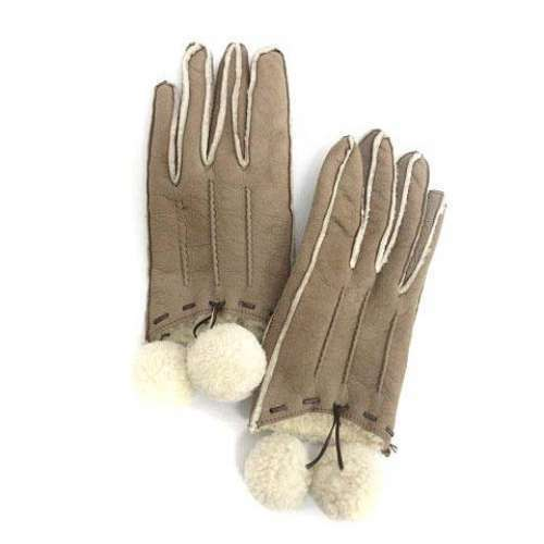 Imported From Abroad Auth Miu Miu Gloves Mouton Beige Used From Japan