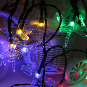 Image Is Loading Set Of 20 Solar String Dragonfly Garden Lights