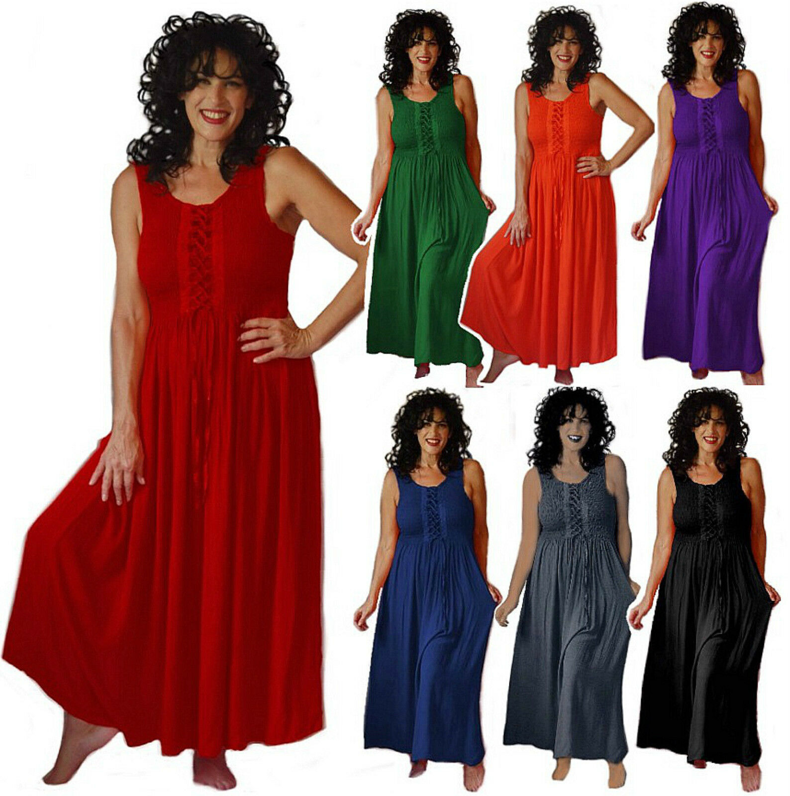 Maxi dress lacing U pick Farbe casual choose Größe L XL 1X 2X 3X 4X