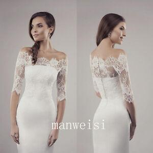 f0e0a1fb822 White Wedding Jacket Off shoulder Lace Half Sleeve Sheer Bridal Wrap ...