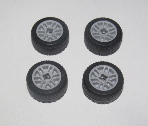 Lego ® Lot x4 Roue Voiture Jante Grise 11209 NEW Pneu Tire Car Wheel 11208
