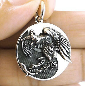 Japanese guardian phoenix bird solid sterling 925 silver mens image is loading japanese guardian phoenix bird solid sterling 925 silver mozeypictures Image collections