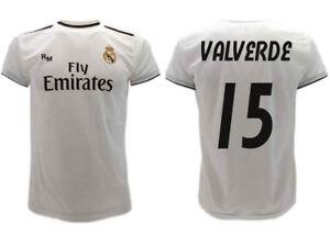 Dettagli su Maglia Real Madrid Valverde 2019 Ufficiale Divisa 2018 Federico 15 Home Bianca