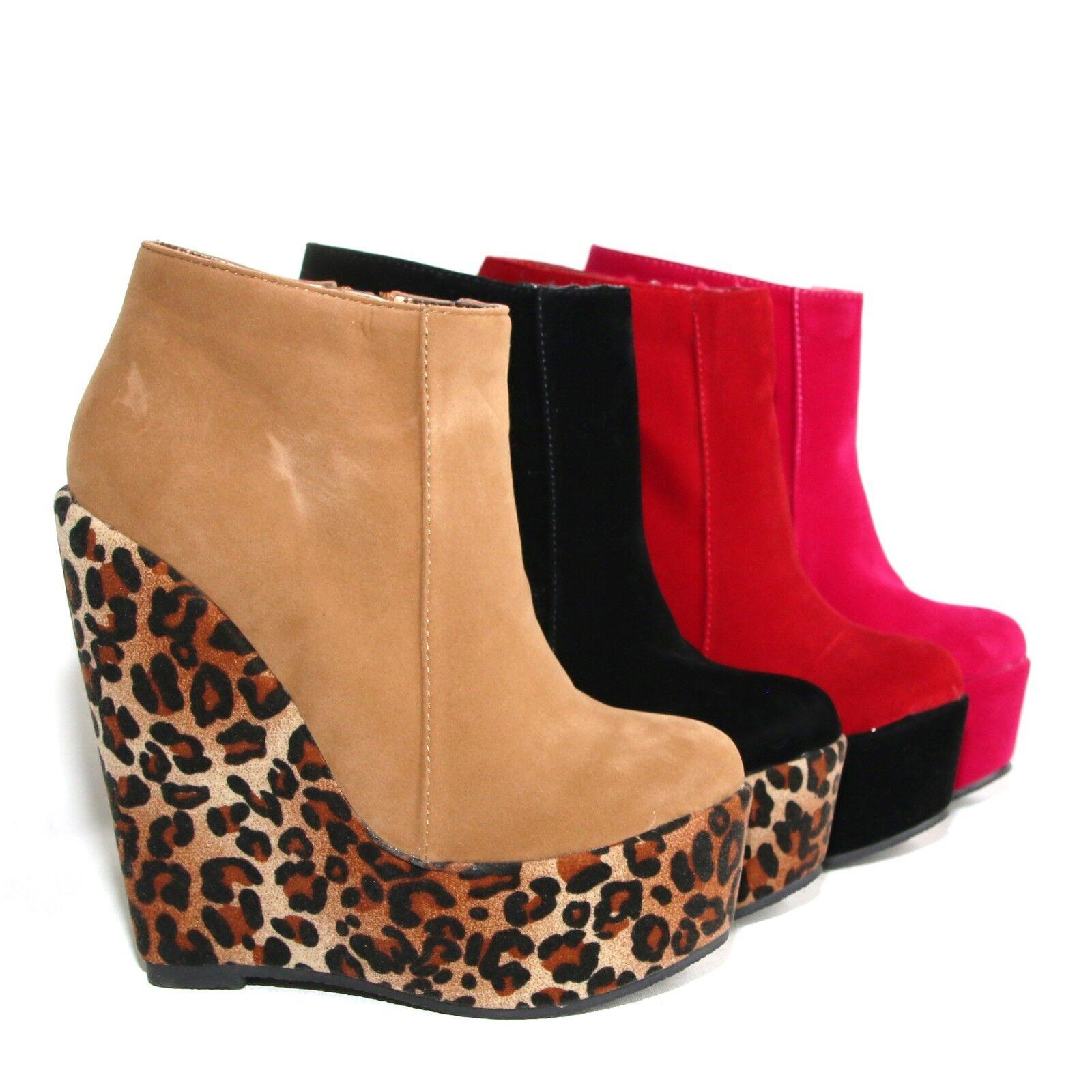 Damen Plateau Stiefeletten Wedges Keilabsatz Pumps High Heels 123
