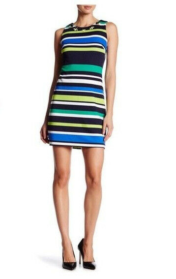 Vince Camuto Womens bluee Green Dress Sleeveless Striped Spring Sz 10 NWT
