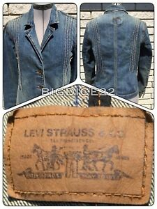 Levi-039-s-Denim-Blue-Jean-Jacket-Pleated-Tailored-Blazer-Fitted-Coat-Women-039-s-Large