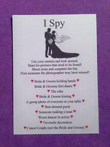 Pack of 12 Wedding I Spy Game Camera Game Table Favour Cards | eBay