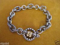 Barbara Bixby Charm Bracelet Carved Designer Ss 18k Toggle Flower Rolo Gift