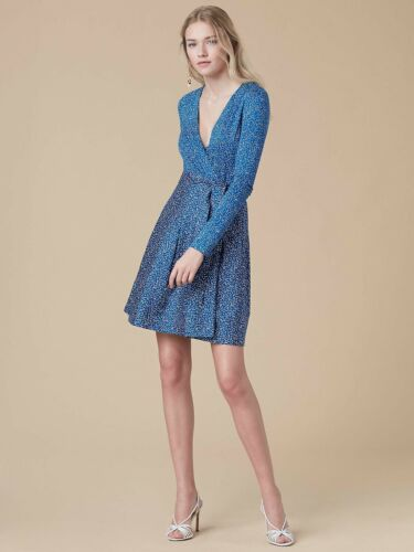 DVF Jewel Wrap Dress In Becket Blue Size 0