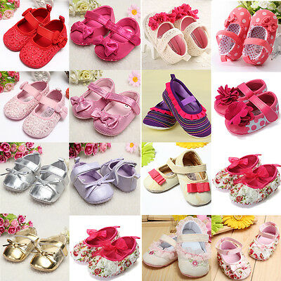 Baby Girl Mary Janes Infant Toddler Flower Polka Dot Soft Sole Crib Shoes