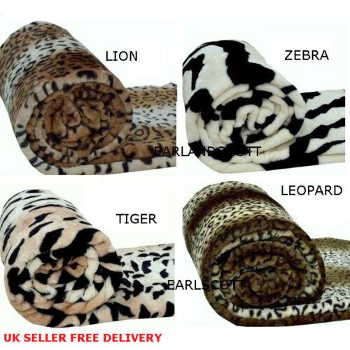 Super luxe fourrure vison imprimé animal jette super doux canapé lit couverture toutes tailles