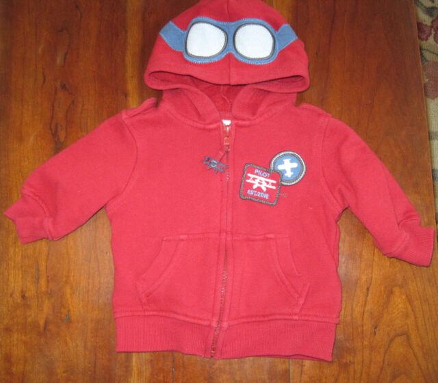cb844d046 Gymboree Boy Red Plane Pilot Sweatshirt Hoodie Hooded Jacket Coat 3 ...