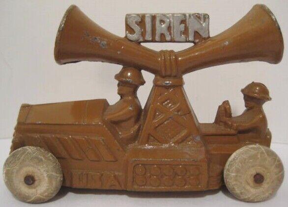 OLD RARE gadoue métal MANOIL militaire Sirène camion avec d'énormes Haut-parleurs et 2 cavaliers