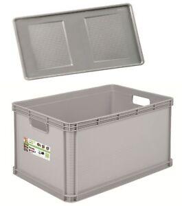Robusto-BOX BASKET CON COPERCHIO 22 L GRIGIO PORTAOGGETTI BOX SCATOLA