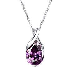 Joyería de plata de ley púrpura amatista colgante de collar de la lágrima