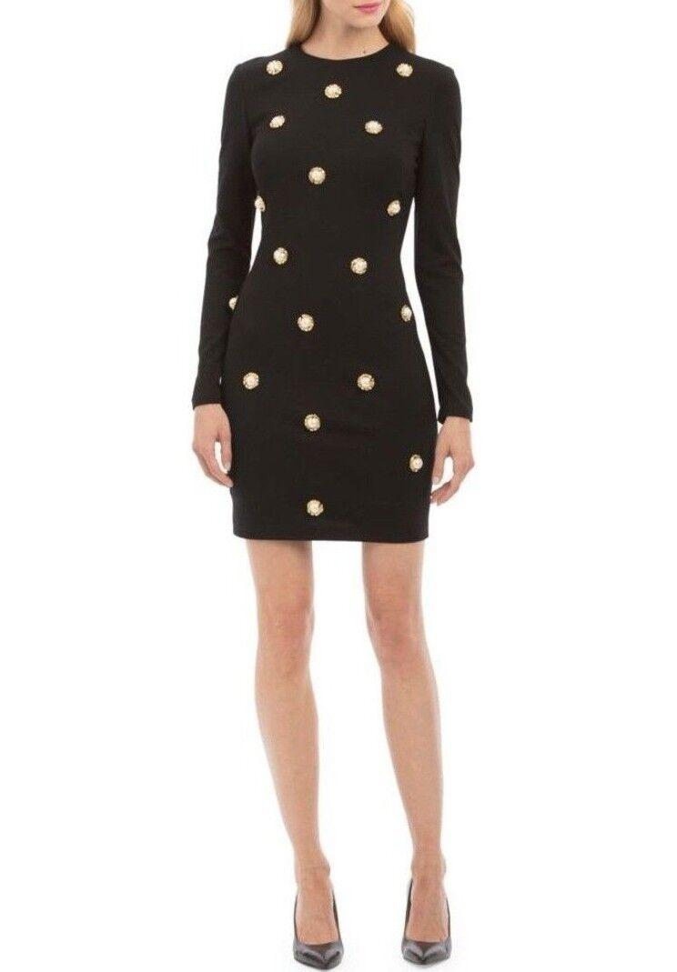 Neuf avec étiquettes NICOLE MILLER nouveau YORK Sz6 Pearl embelli hommeches longues gaine robe noir