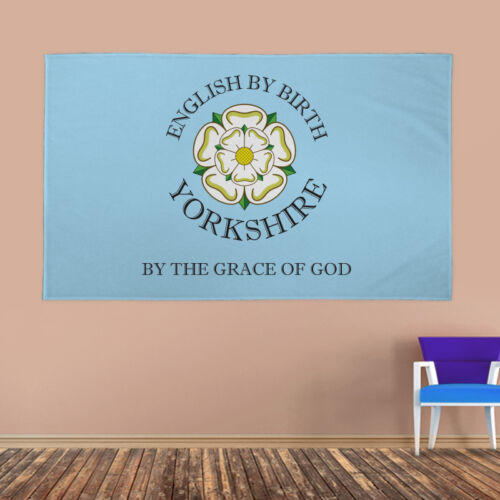Yorkshire Banner Flag English Birth By The Grace Of God White Rose York & Eyelet