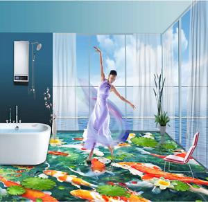 3D Travieso Estanque Papel Pintado Mural Parojo Impresión de suelo 7533 5D AJ Wallpaper Reino Unido Limón