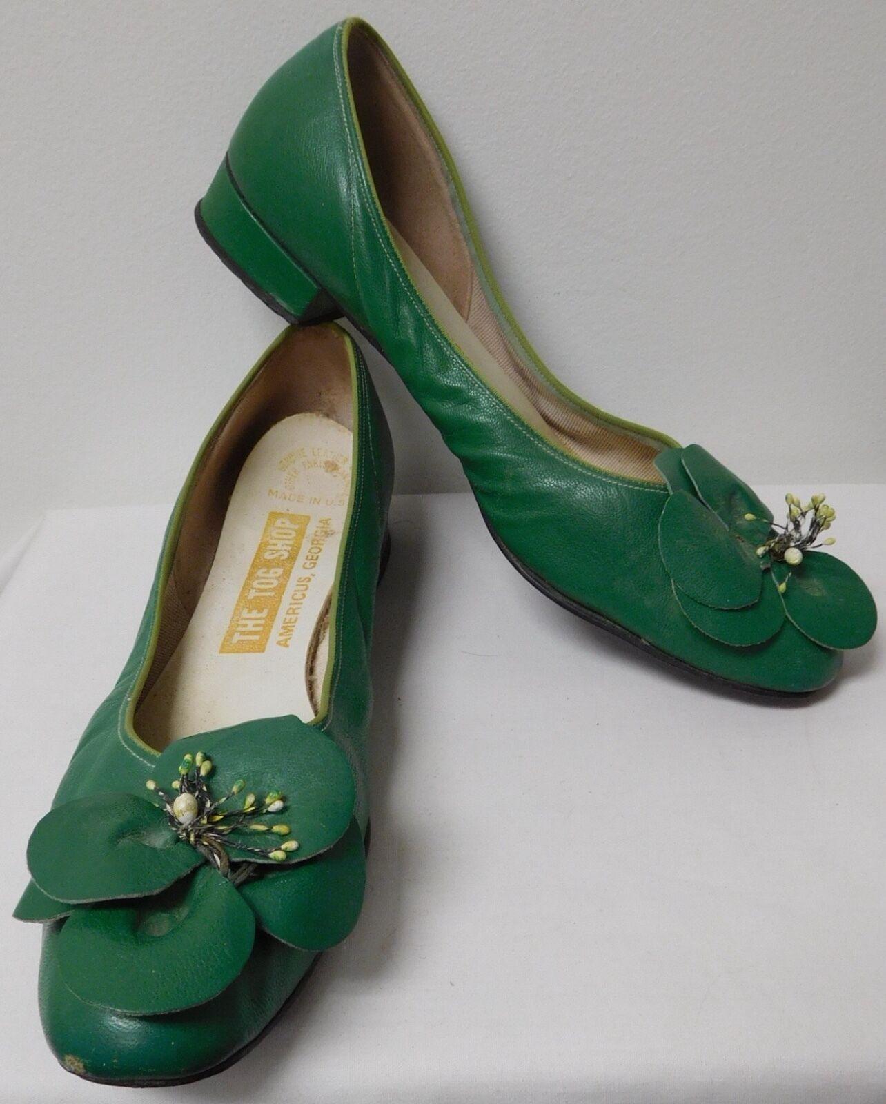 THE TOG SHOP VINTAGE HAMPTONS PREPPY GREEN FLATS W/ FLOWER TOE Donna SIZE 9.5 N