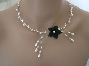 Collier Noir Blanc Ivoire p robe de Mariée Mariage Soirée Fleur ... 571556ccaec4