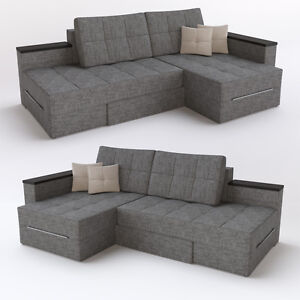 ecksofa mit schlaffunktion 240 x 160 cm grau sofa couch eckcouch schlafcouch. Black Bedroom Furniture Sets. Home Design Ideas