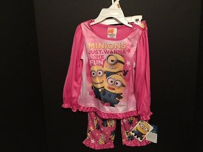 3T or 4T Girl/'s Minions Just Wanna Have Fun Pajama Set 2T New $36