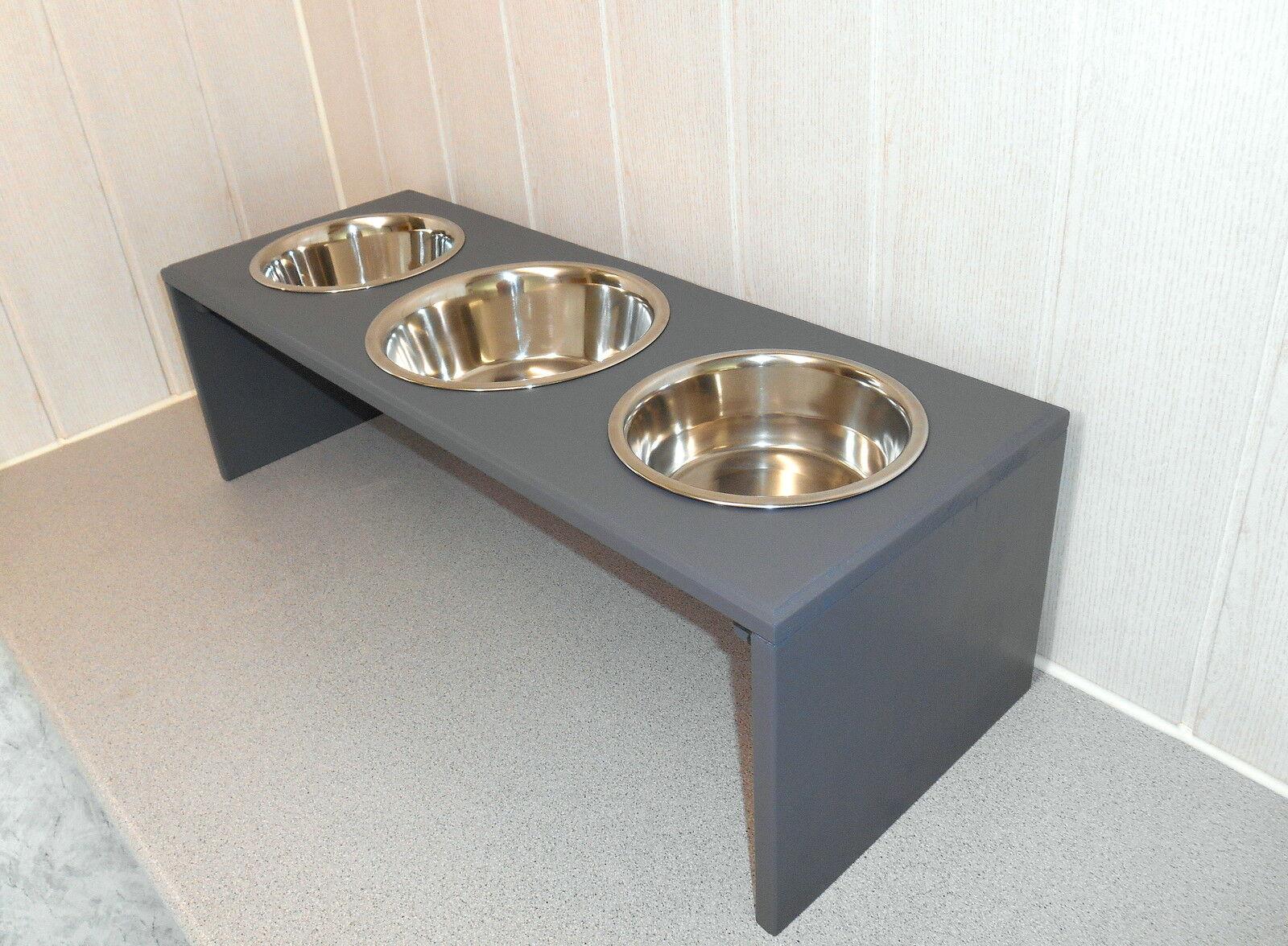 Hundenapf   Hundebar   Futternapf 3 3 3 Näpfe, grau, Jede Farbe möglich (1143g)    Hohe Qualität  defa2a