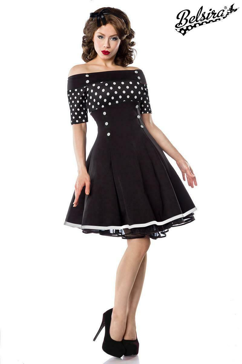 Rockabilly Kleid schwarz weiß gepunktet Vintage-Kleid 50er Jahre Rockabilly 2XL