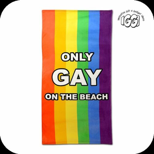 ONLY GAY ON THE BEACH TOWEL Sun Lounger Bed Bath Pool Holiday Pride Rainbow Fun