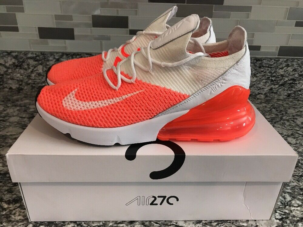 Women's Air Max 270 Flyknit Sz 10 Total Crimson Pulse White Blk AH6803-800