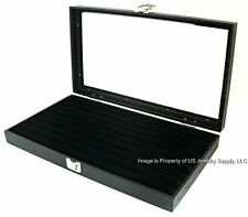 1 Wholesale Glass Top Lid Black 8 Row Ring Display Portable Storage Boxes Case