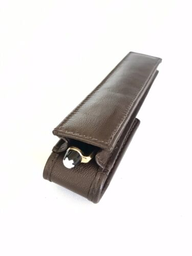 Brown Leather Single Magnetic Pen Case//Pouch Real Leather Hand Made