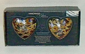 Zorza-Glass-Heart-Ornaments-NEW-In-Box-Hand-Made-Poland