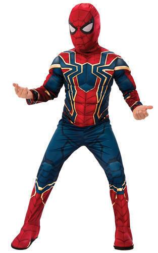 Deluxe Iron Spider Boys Fancy Dress Avengers Superhero Spider-Man Kids Costume