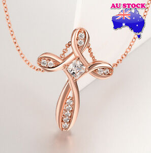 Wholesale-18K-Rose-Gold-Filled-Cubic-Zirconia-Crystal-Cross-Pendant-Necklace