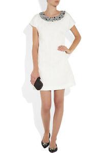 Rare-New-Dolce-amp-Gabbana-Crystal-Embellished-Jacquard-Brocade-White-Dress-4